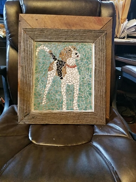 Custom Barn Wood Framed Treeing Walker Coonhound