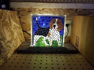 Beagle Glass Block Mosaic