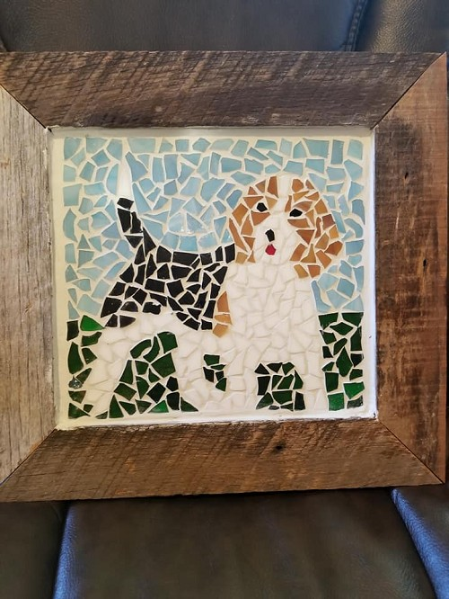 Wood Framed Beagle Mosaic